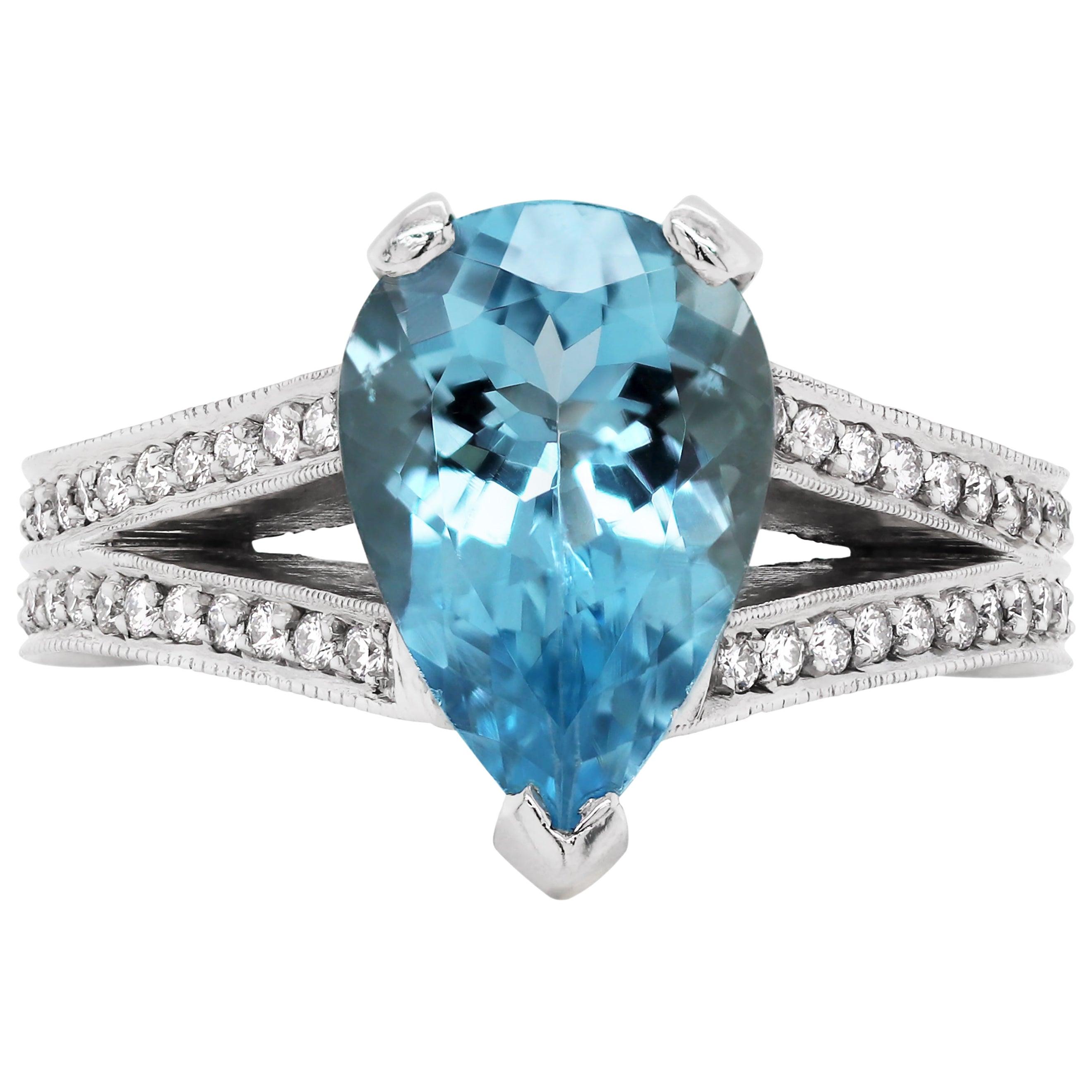 2.61 Carat Pear Shape Aquamarine and Diamond Platinum Engagement Ring