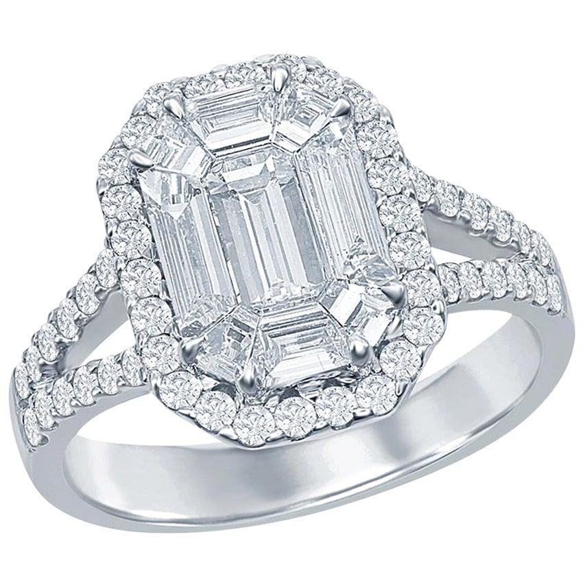 2.50 Carat Emerald Cut Diamond Ring 18 Karat White