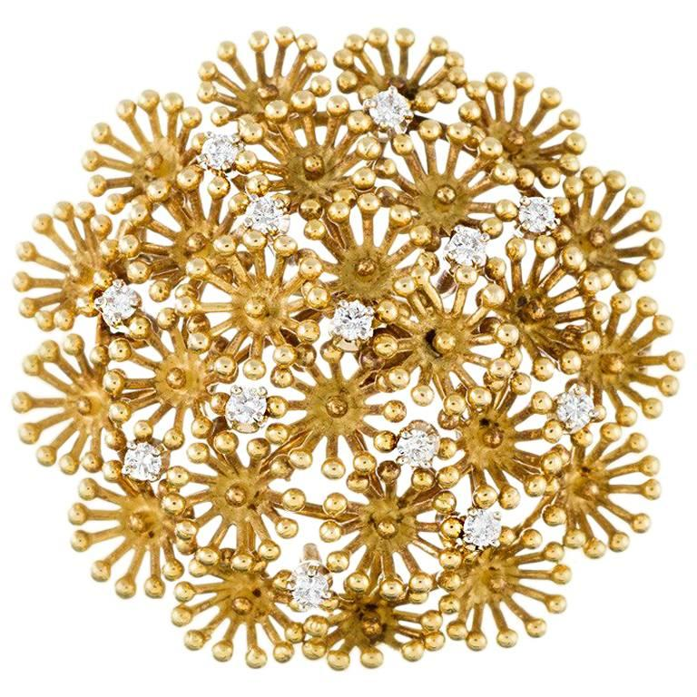 Cartier Diamond and Yellow Gold Brooch