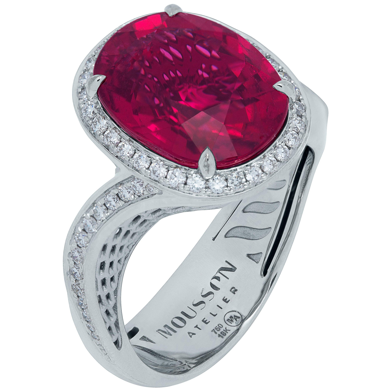 Rubellite 5.70 Carat Diamonds 18 Karat White Gold Ring