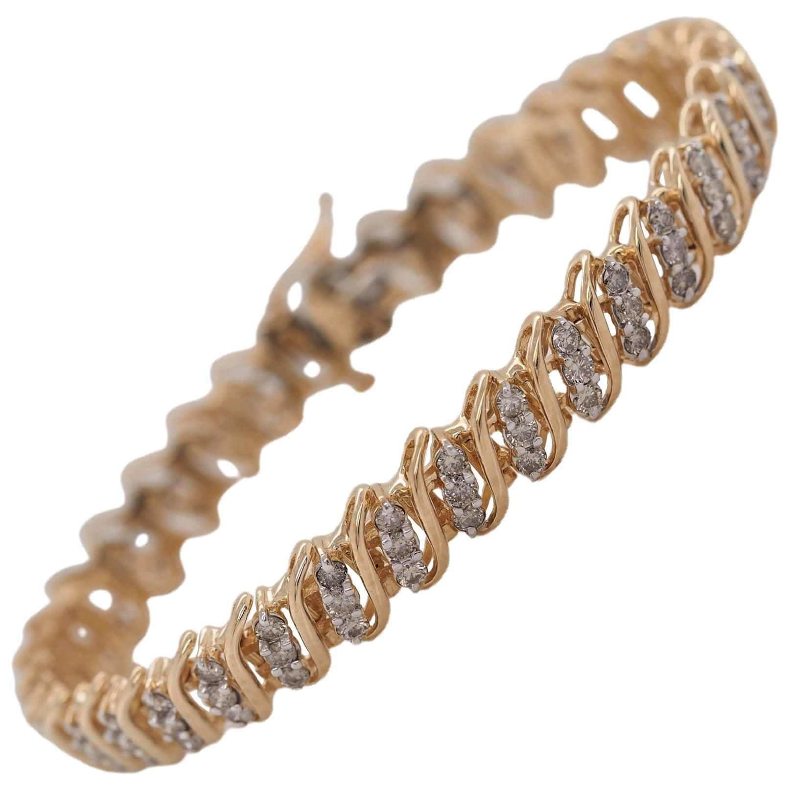 14 Karat Yellow Gold 4 Carat Round Diamond Tennis Bracelet