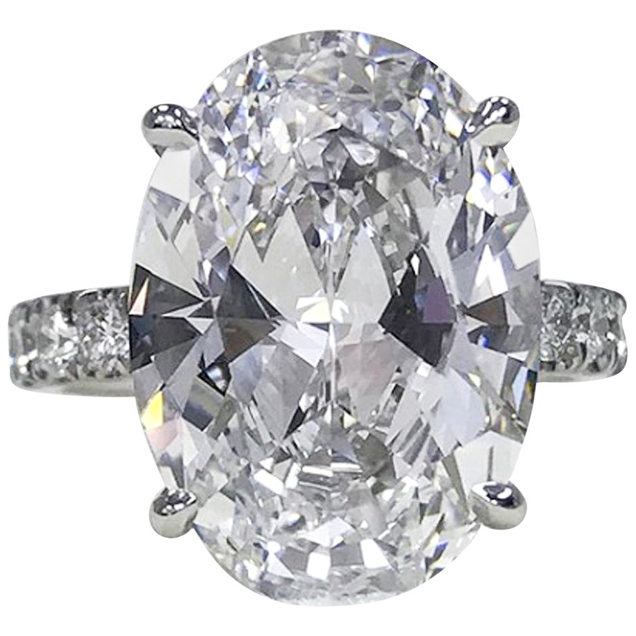 GIA Certified 6 Carat Oval Diamond Platinum Solitaire Ring VS2 Clarity