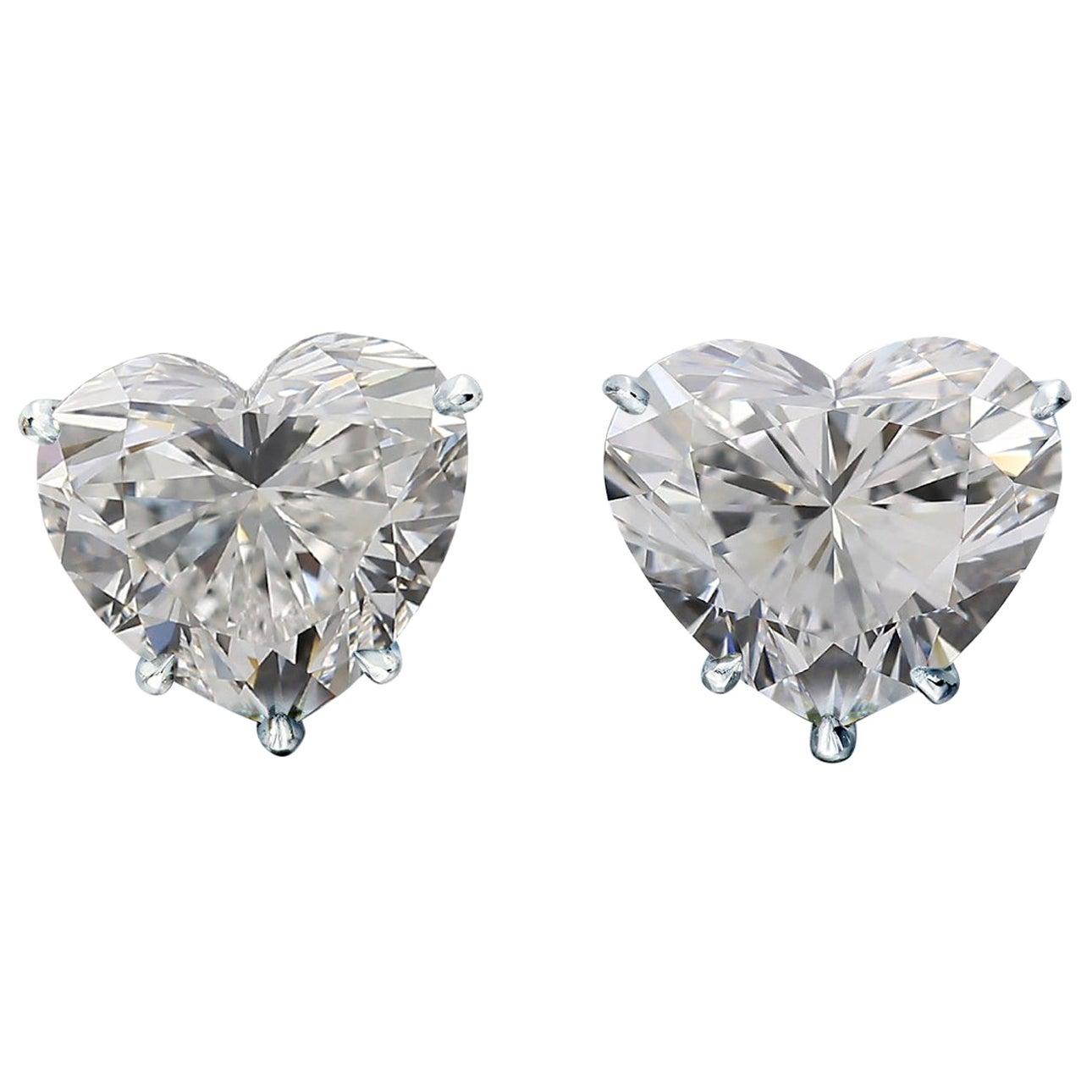 GIA Certified 1.01 Carat Heart Cut Diamond White Gold Studs Earrings D Color VVS