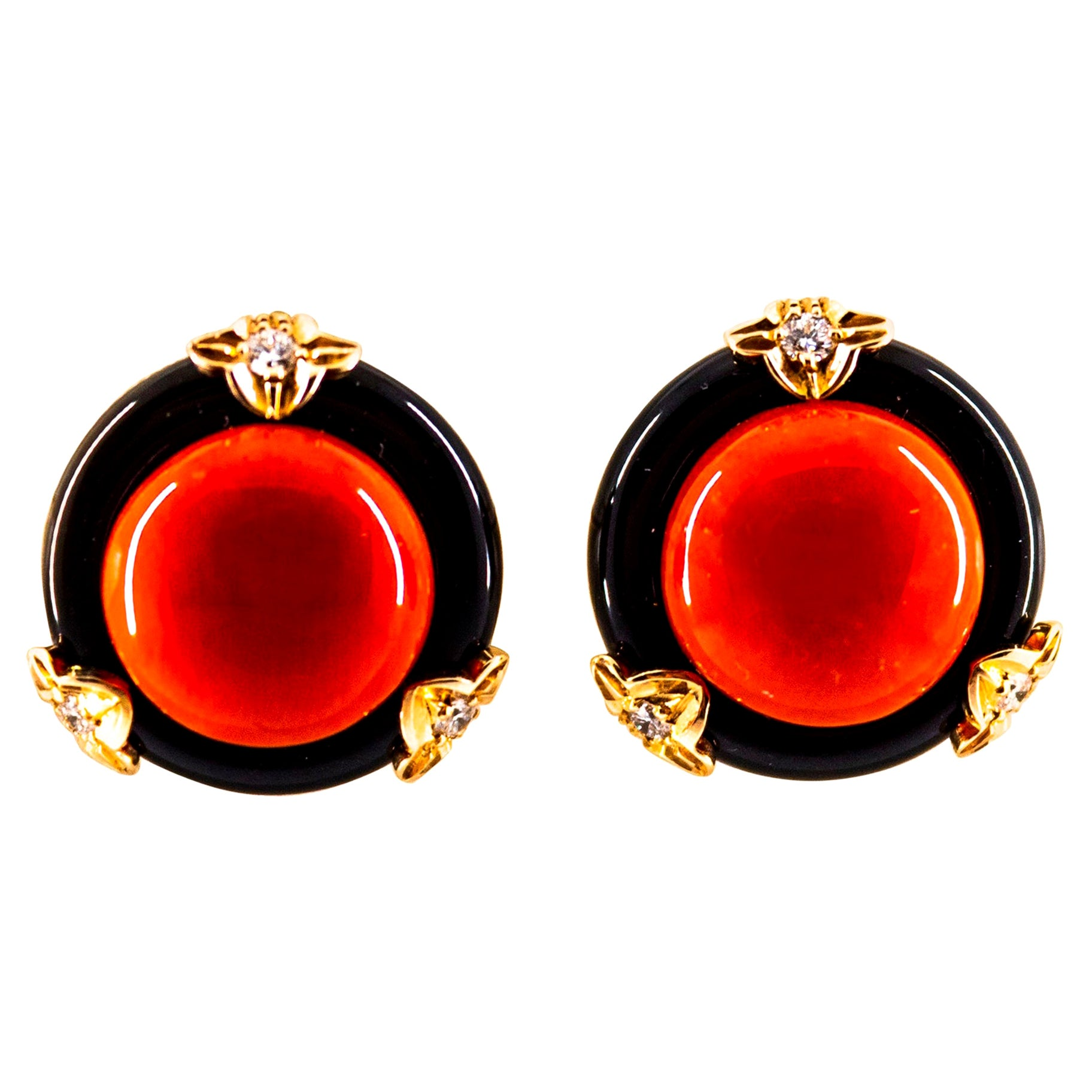 Art Deco Style Red Coral Onyx White Diamond Yellow Gold Dangle Clip-On Earrings