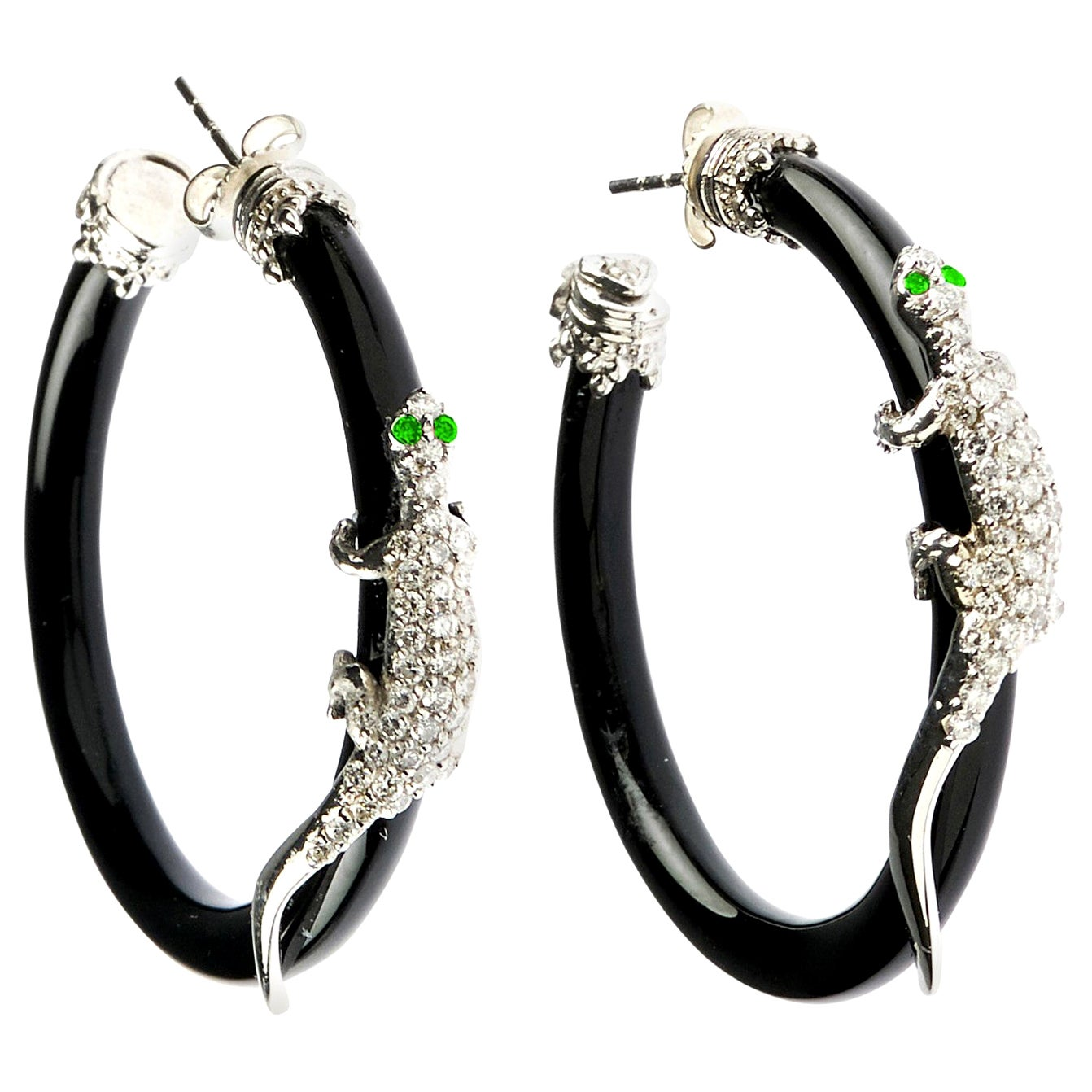 Stambolian 18 Karat White Gold Diamond Black Onyx Tsavorite Lizard Hoop Earrings