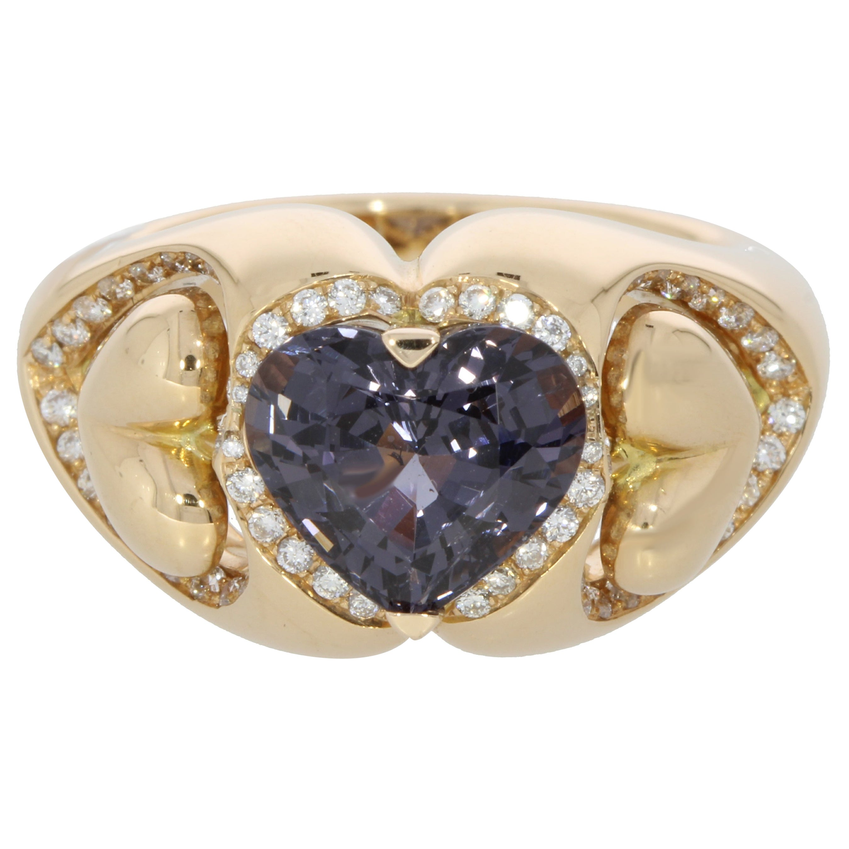 Purple Spinel and Diamond Heart Ring 18 Karat Collection by Niquesa
