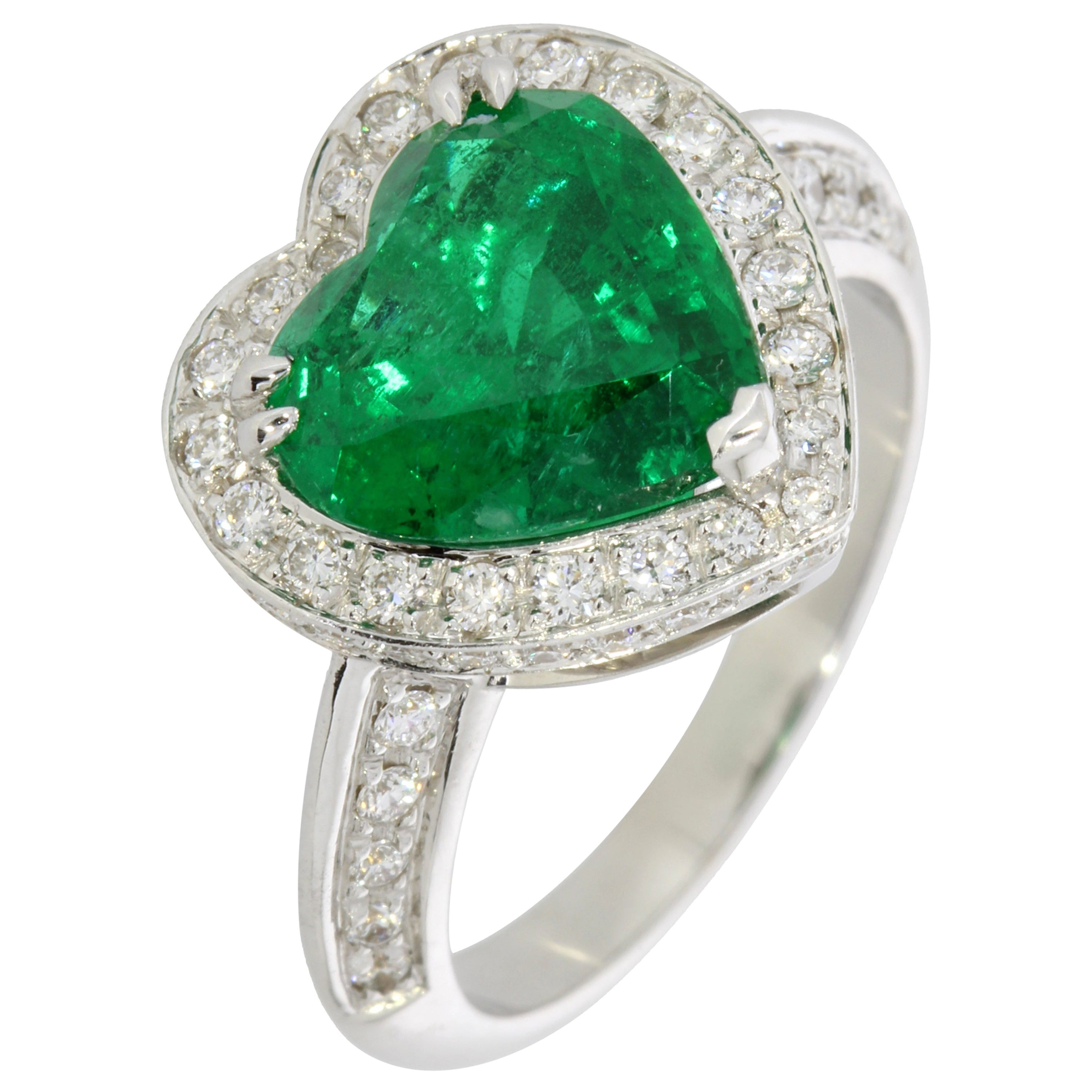 Emerald and Diamond Heart Ring 18 Karat White Gold Collection by Niquesa