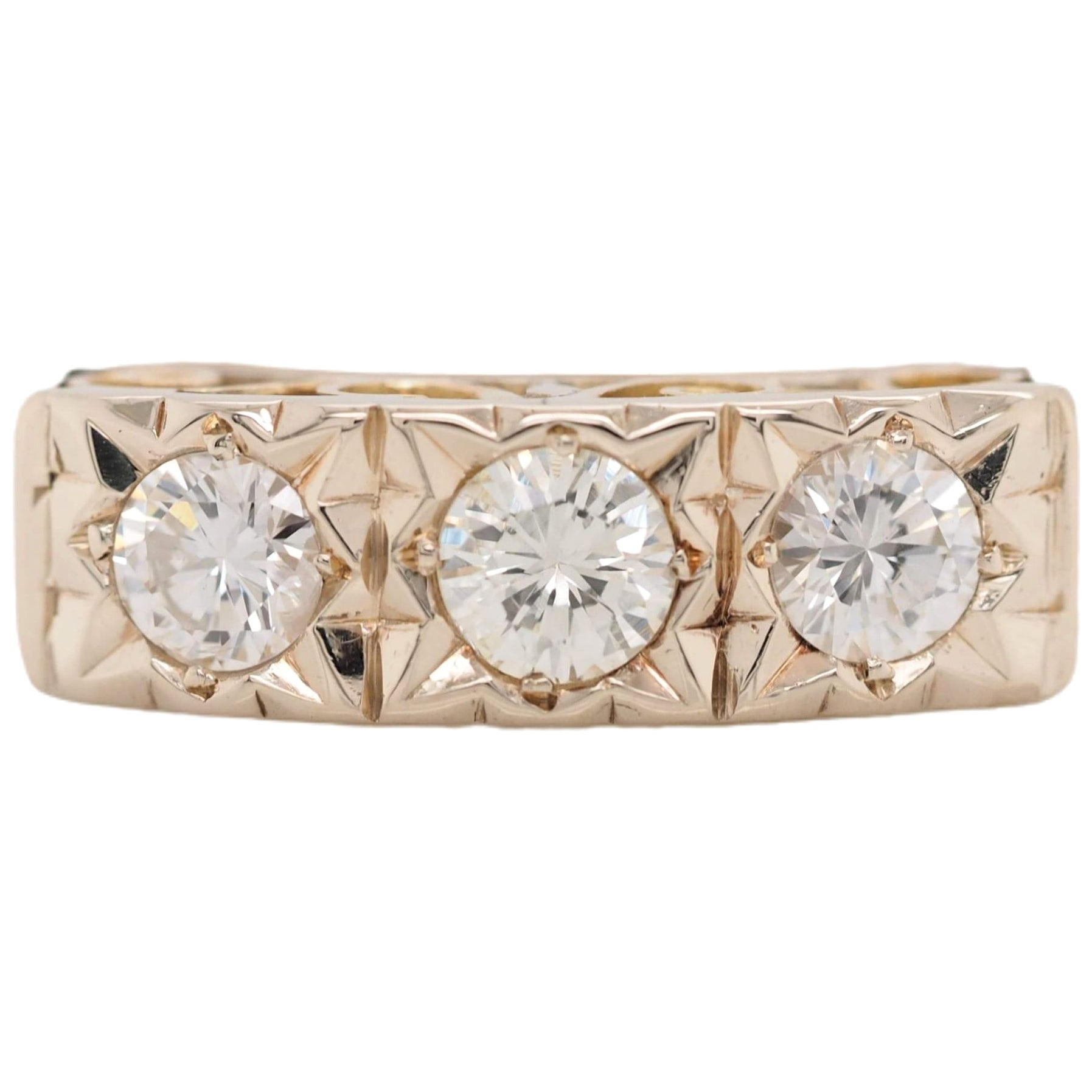 Vintage Yellow Gold Three-Stone Diamond Filigree Engagement Ring