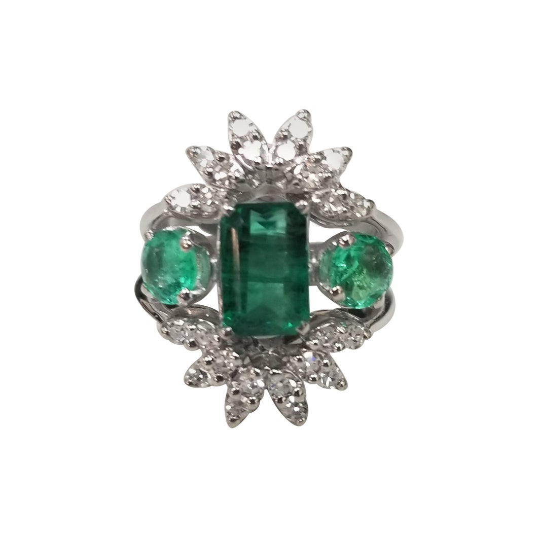 Vintage 14 Karat White Gold Colombian Emerald and Diamond Cocktail Ring