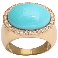 Turquoise Diamond Gold Ring