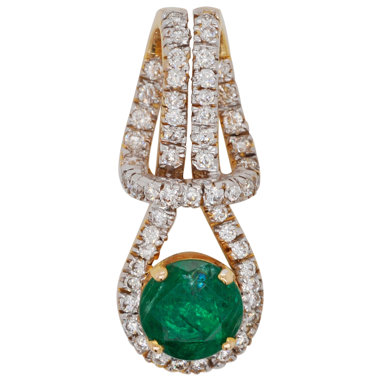 18 Karat Gold Zambian Round Emerald Diamond Pendant Necklace