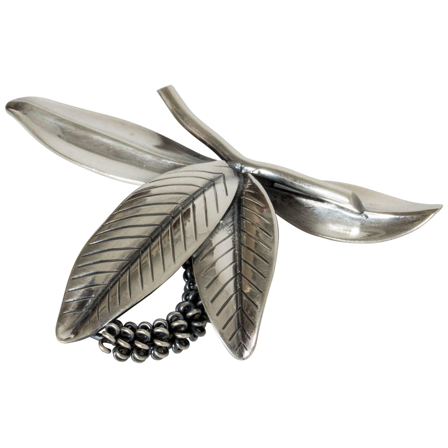 Silver Brooch by Gertrud Engel for Michelsen, Denmark, 1940s