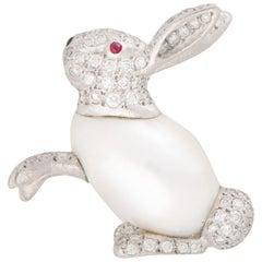 Baroque Freshwater Pearl and Diamond Rabbit Pin Brooch Set in 18 Karat Gold