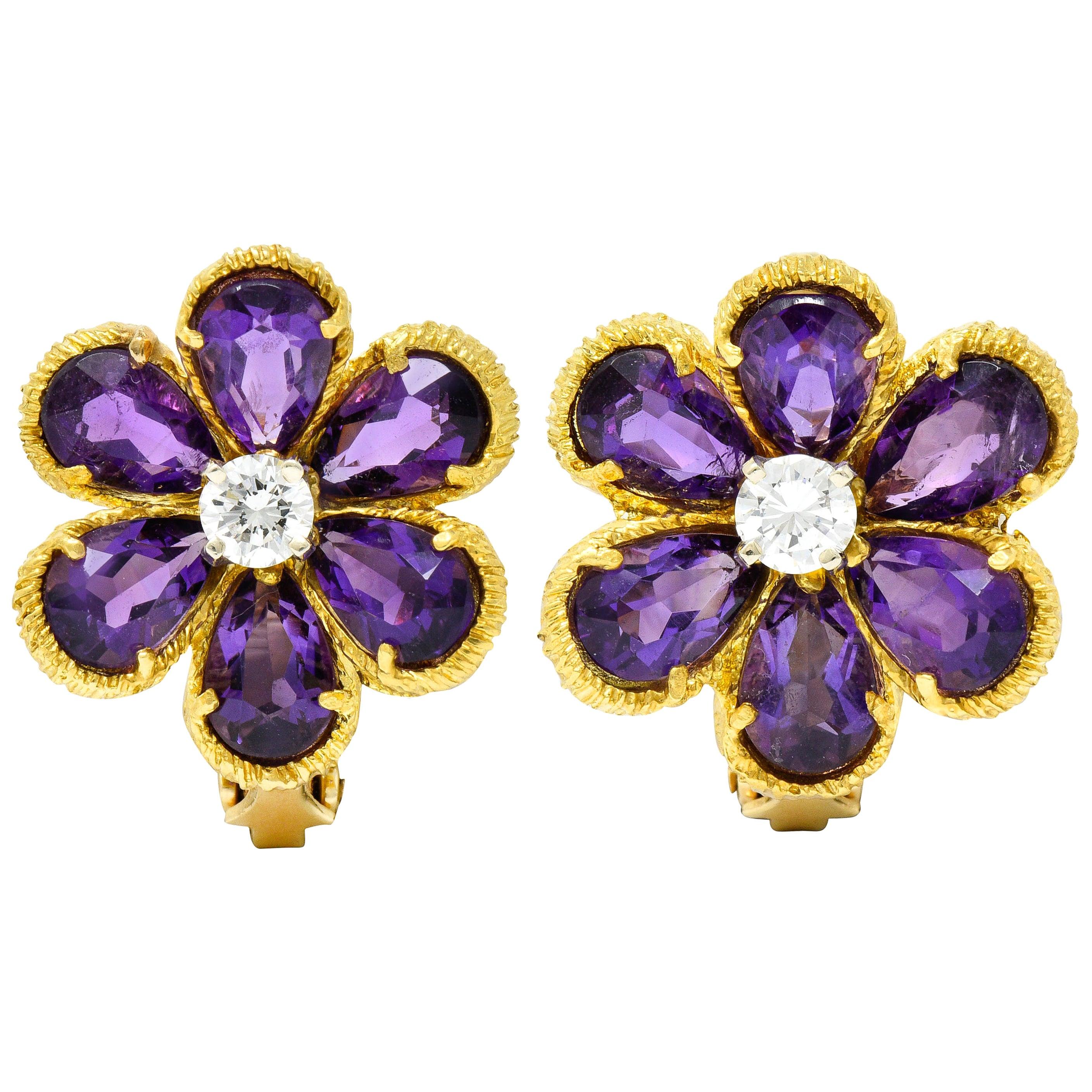 Vintage Diamond Amethyst 18 Karat Yellow Gold Flower Ear-Clip Earrings