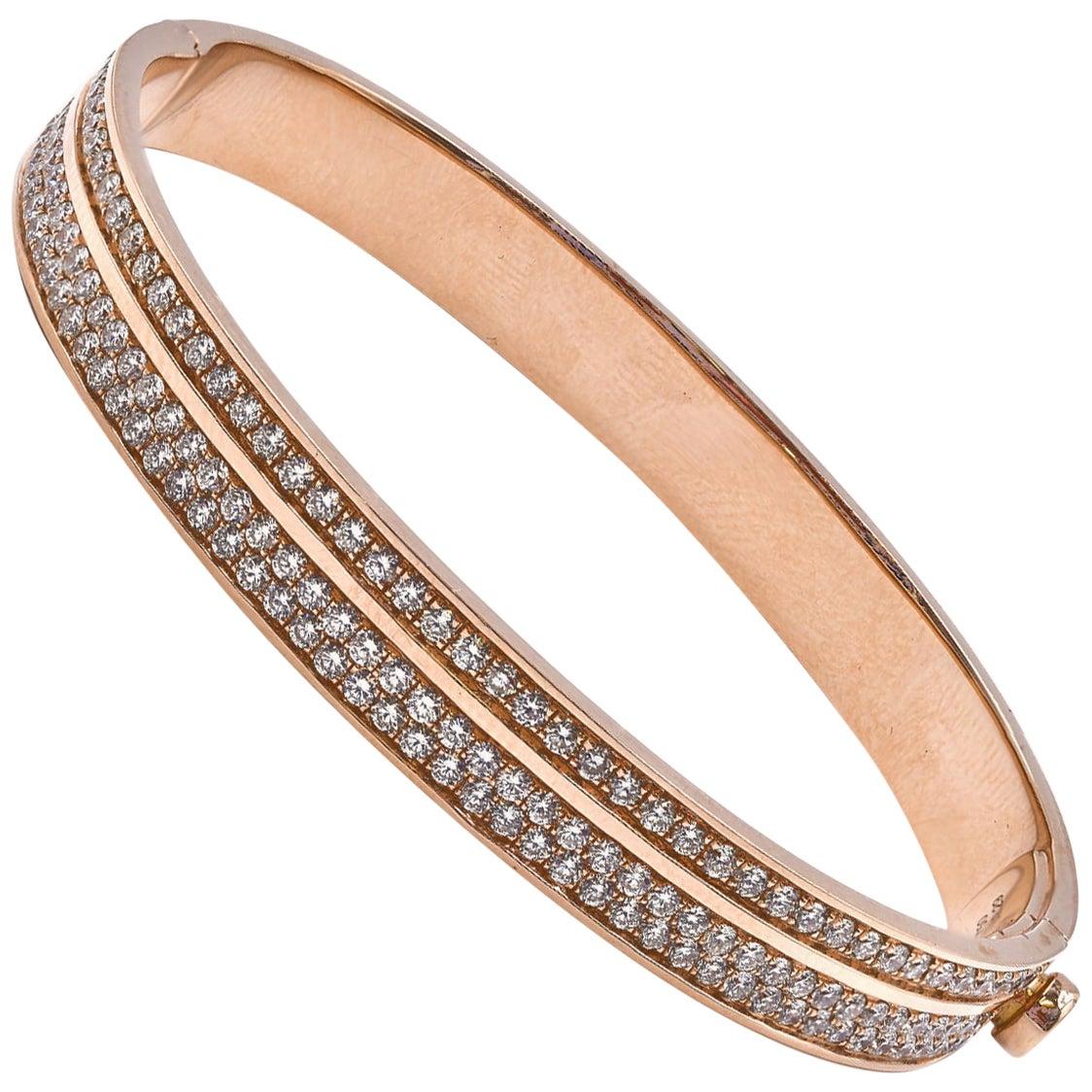18 Karat Rose Gold Diamond Bangle Bracelet