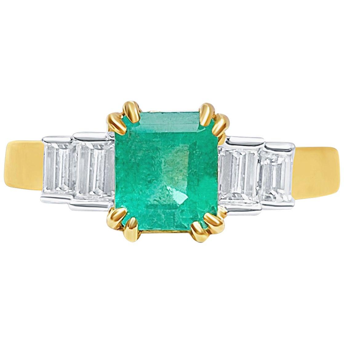 1.27 Carat Emerald-Cut Colombian Emerald and Diamond 18 Karat Yellow Gold Ring