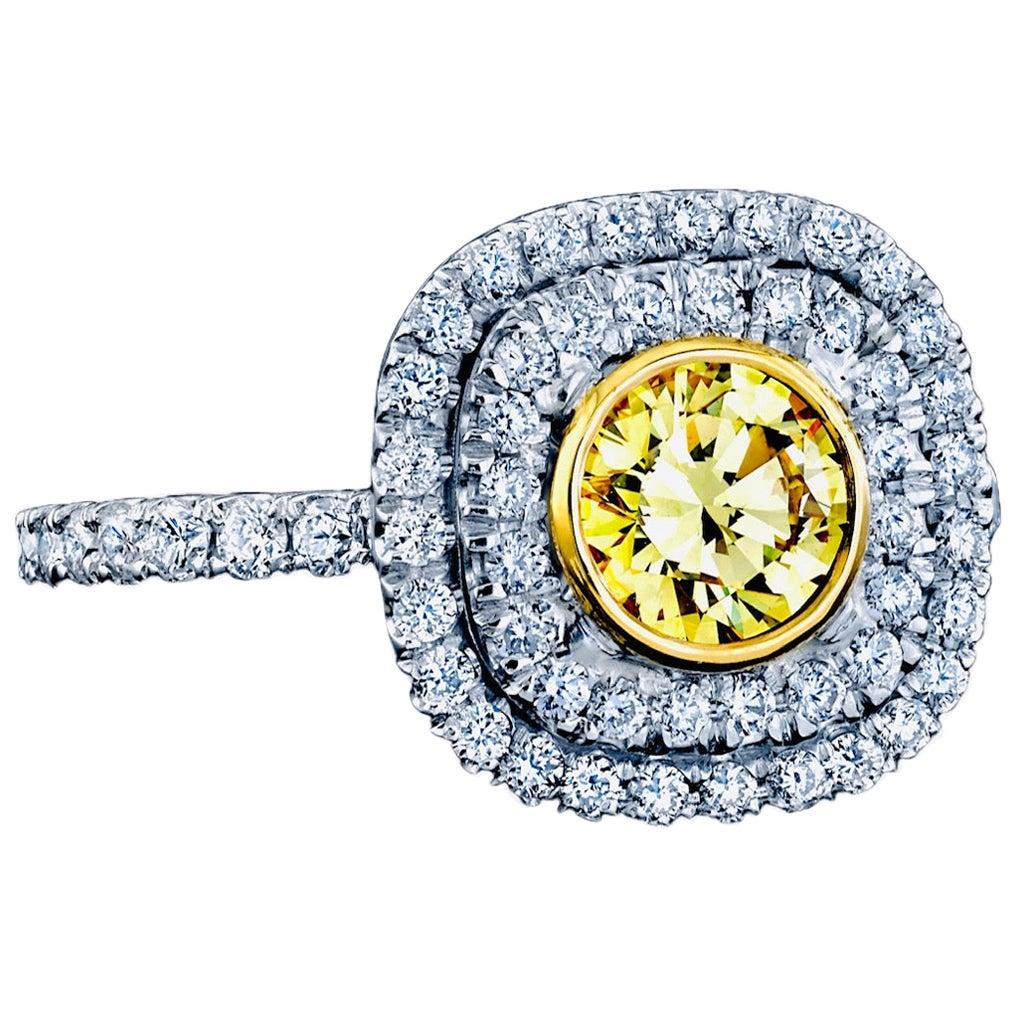 GIA Certified 0.55 Carat Fancy Intense Yellow Diamond Ring Weight Platinum/18KYG