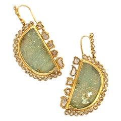 12.39 Carat Ancient Roman Glass Dangle Earrings with Diamonds