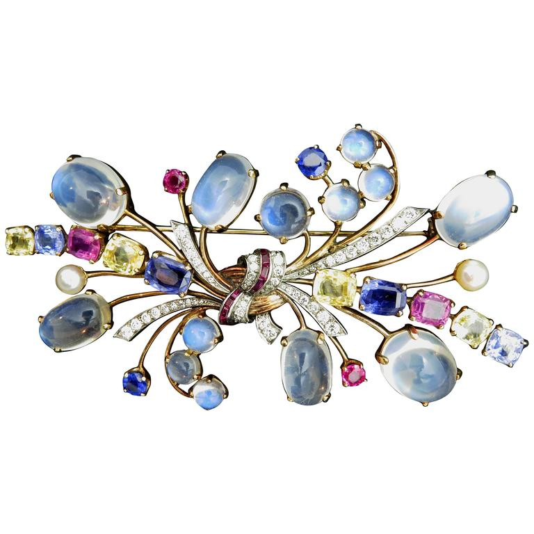 Raymond Yard Gemstone Brooch For Sale