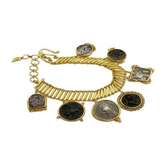 Coin Bracelet Set in 20 Karat Yellow Gold with Antique Hanging Coins