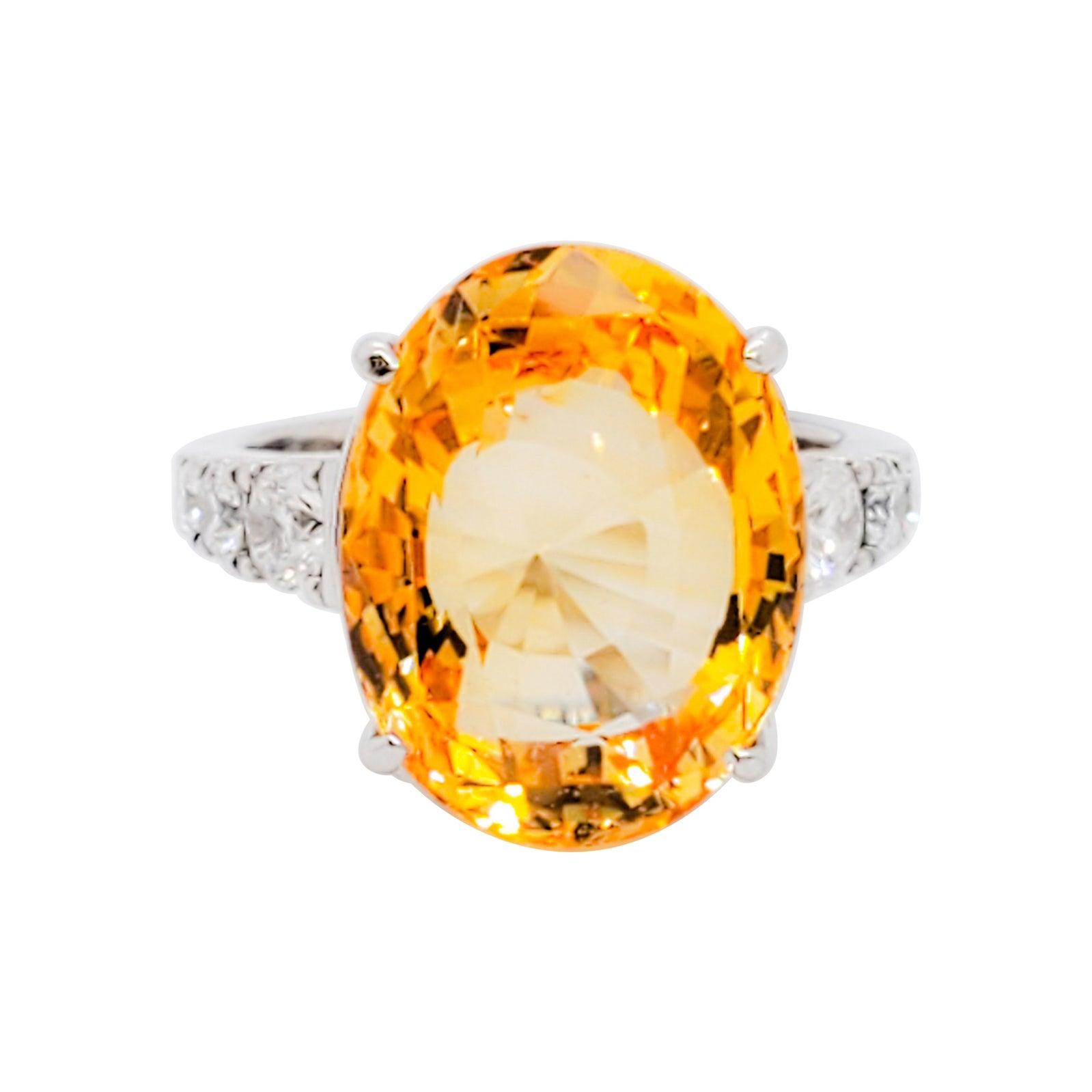 No Heat Sri Lanka Yellow Sapphire Oval and White Diamond Cocktail Ring