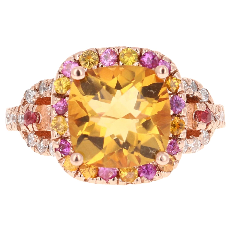 5.10 Carat Cushion Cut Citrine, Pink Sapphire Diamond 14 Karat Rose Gold Ring