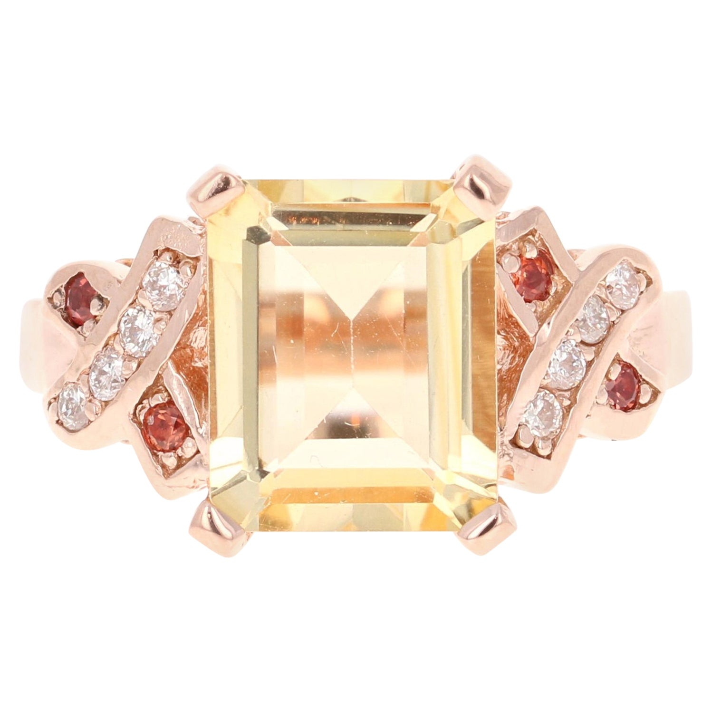 3.93 Carat Emerald Cut Citrine, Sapphire and Diamond 14 Karat Rose Gold Ring
