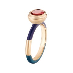 14 Karat Yellow Gold, Lacquer Enamel Candy Lacquer Ruby Ring
