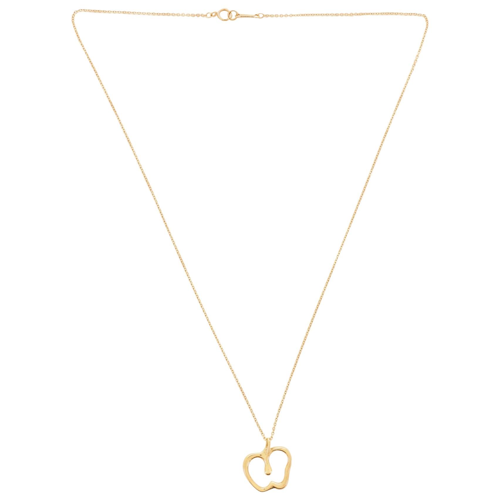 Tiffany & Co. Elsa Peretti Apple Pendant Necklace 18 Karat Yellow Gold