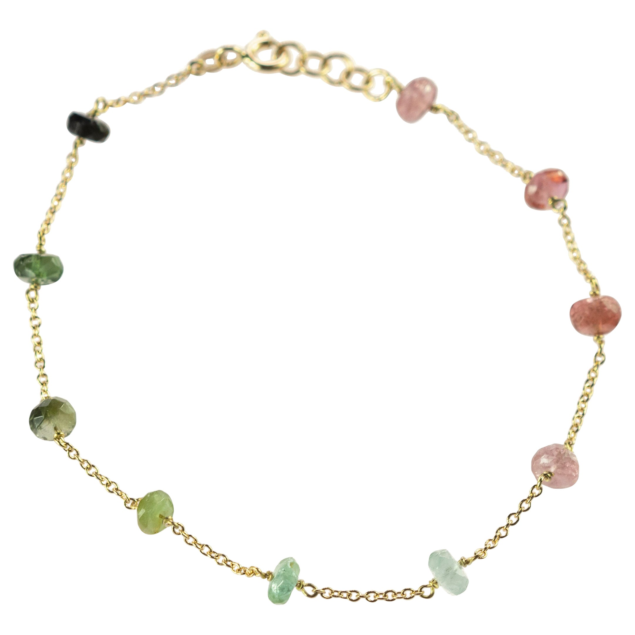 Intini Jewes 18 Karat Gold Chain Tourmaline Rondelles Colorful Rainbow Bracelet