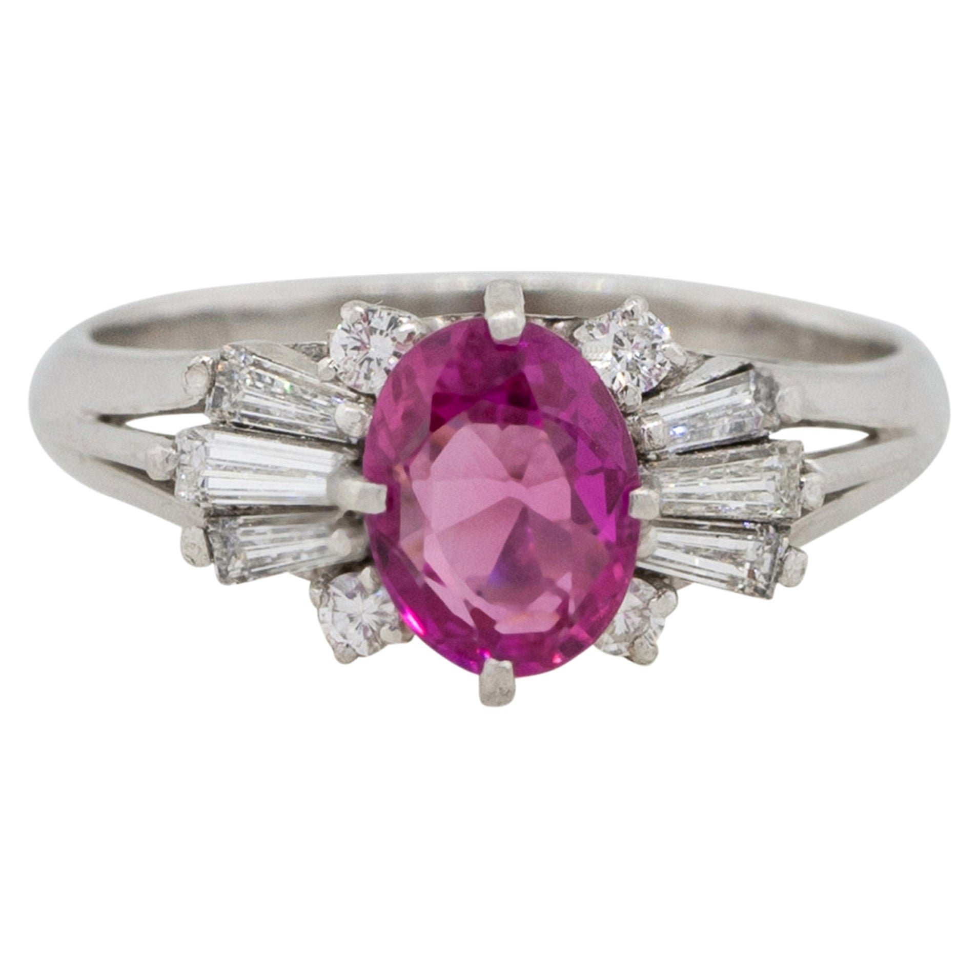 1.10 Carat Oval Cut Ruby Center Diamond Cocktail Ring Platinum in Stock