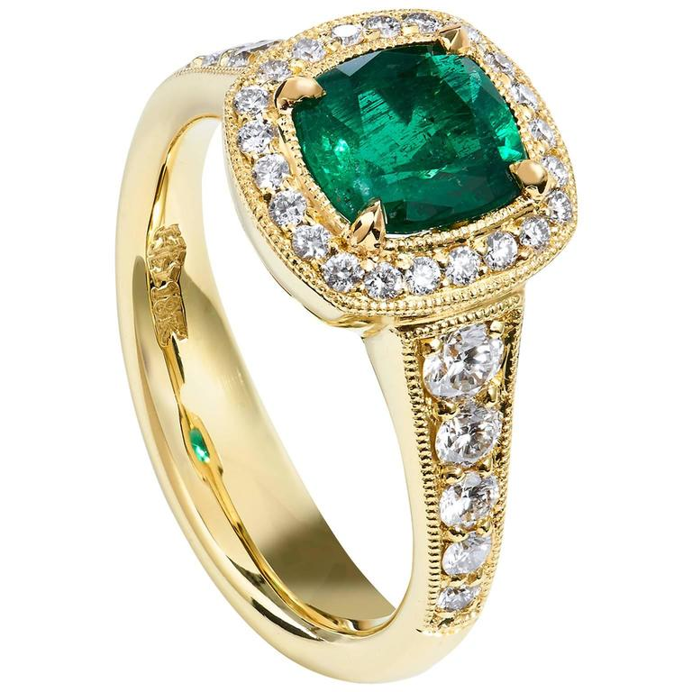 GIA Certified Emerald Yellow Gold Ring For Sale
