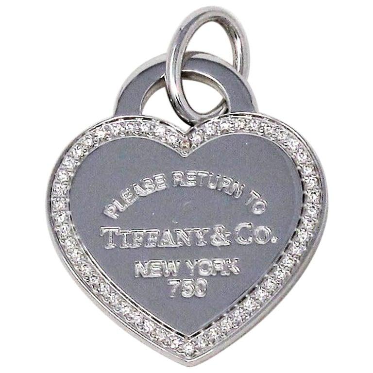 Tiffany & Co. Return to Tiffany Diamond Heart Tag Pendant or Charm 18 Karat Gold
