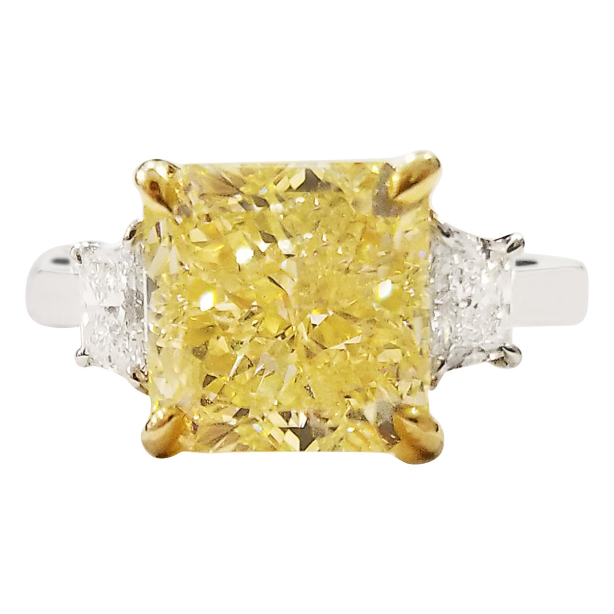 GIA Certified 5.05 Carat Fancy Intense Yellow Diamond Platinum Engagement Ring