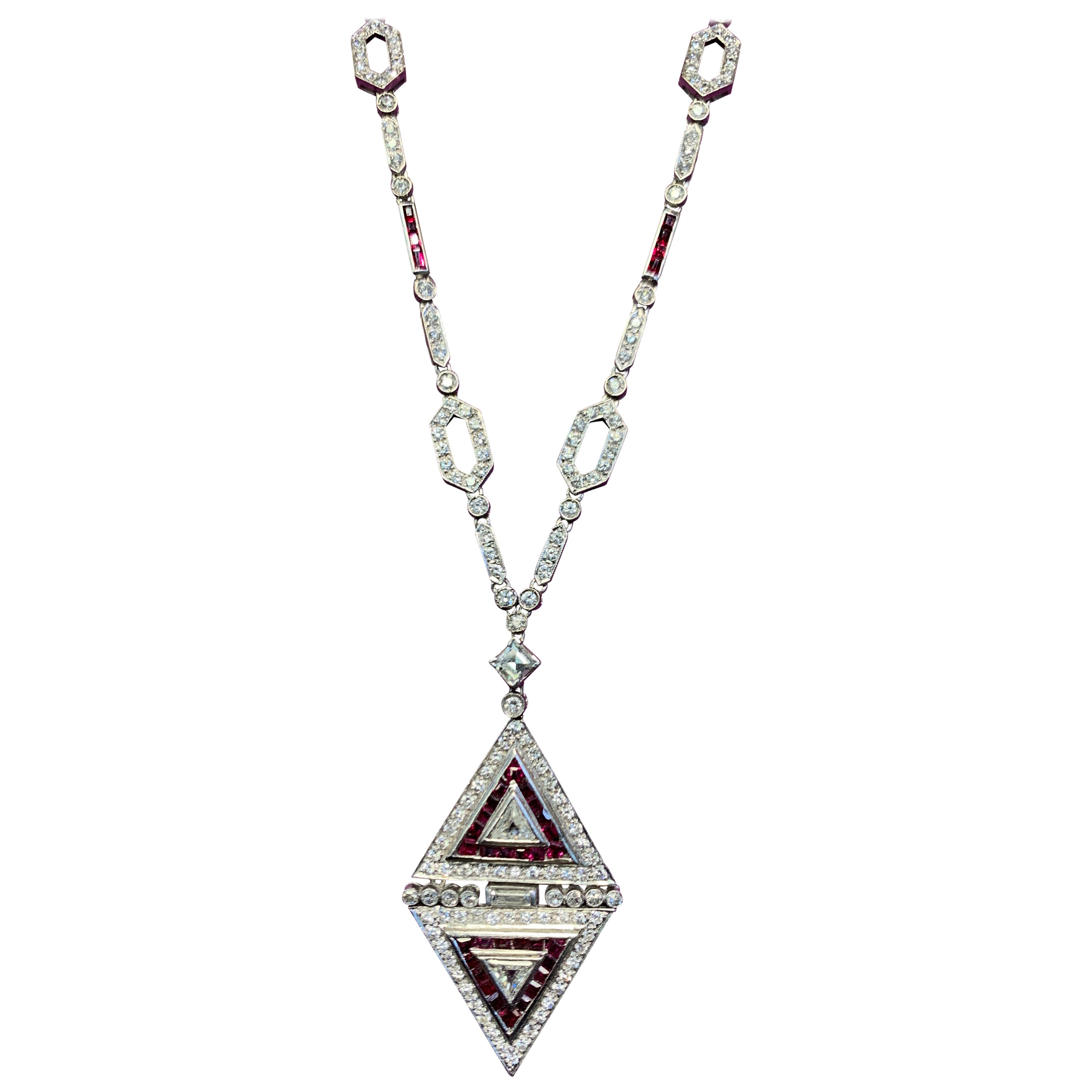 Diamond and Ruby Pendant Necklace