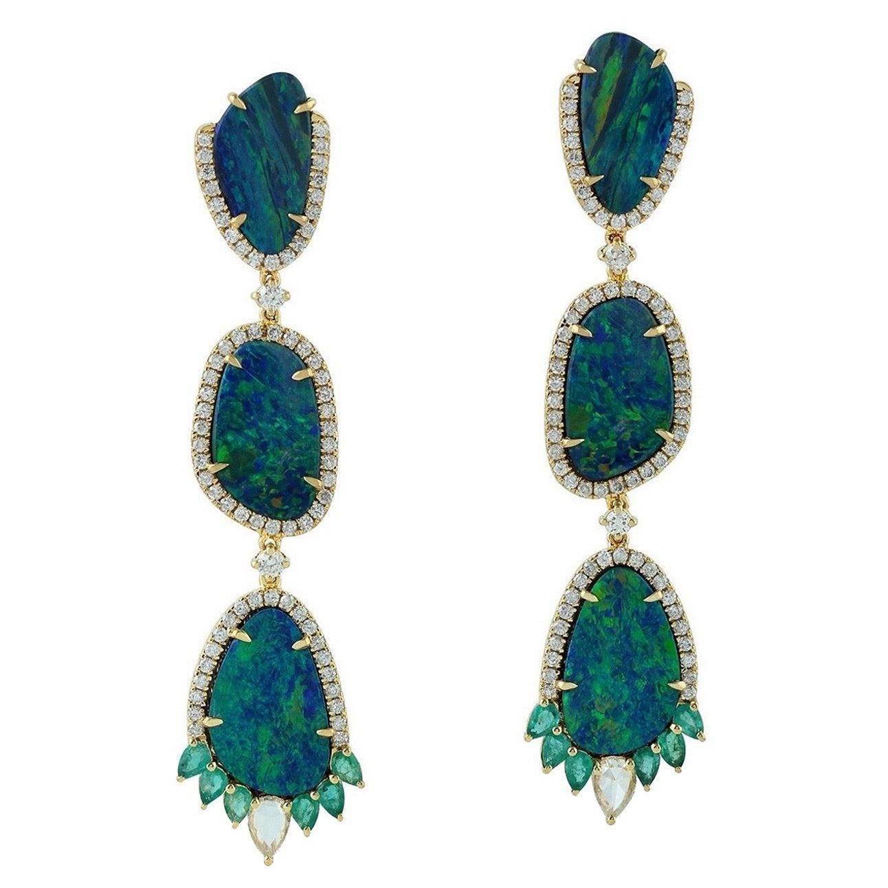 11.2 Carat Opal Emerald Diamond 18 Karat Gold Earrings