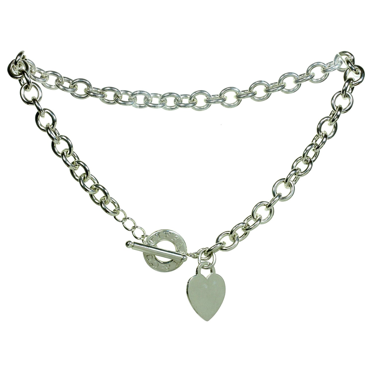 Tiffany & Co. Heart Toggle Chain Sterling Silver Link Necklace