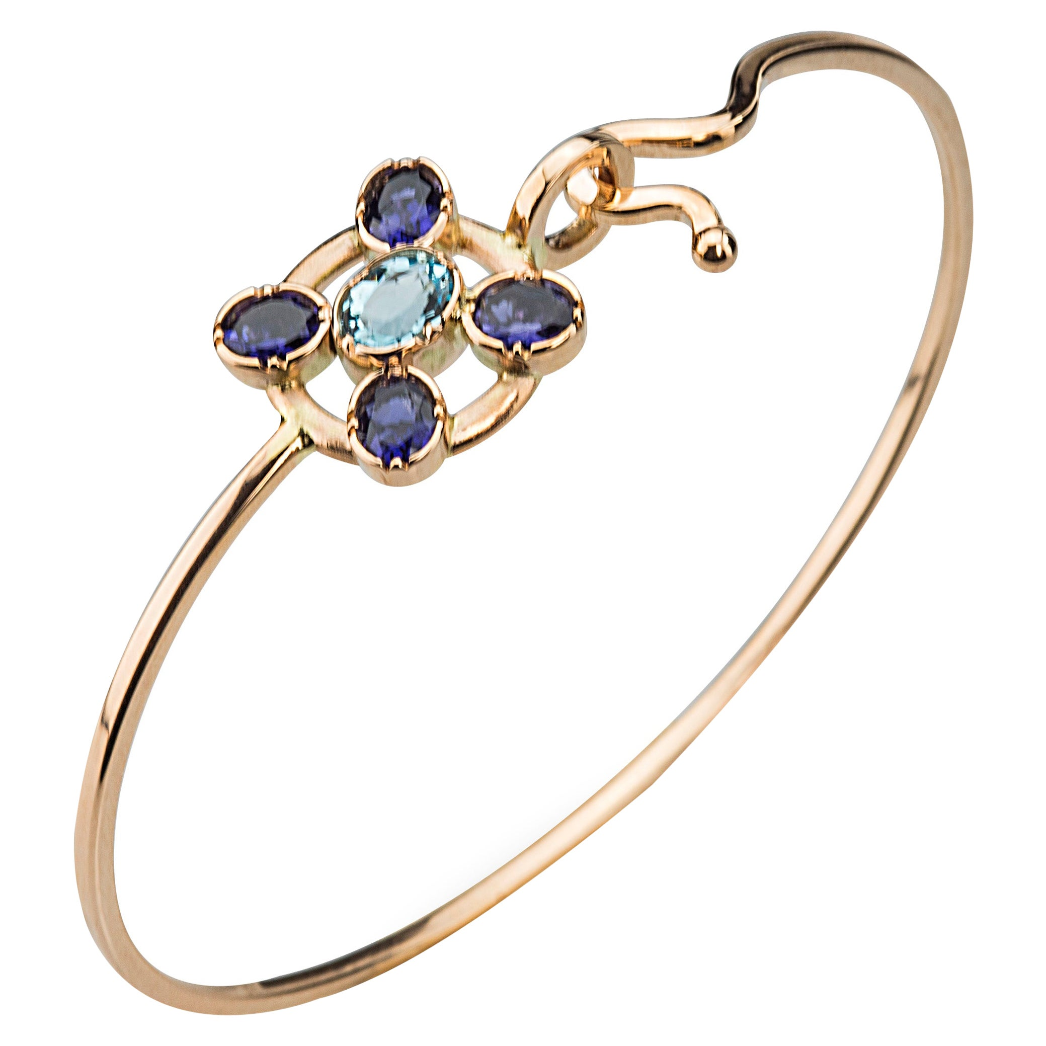 Ugolini 18Karat Yellow Gold Blue Iolite Blue Topaz Twisted Bangle Bracelet