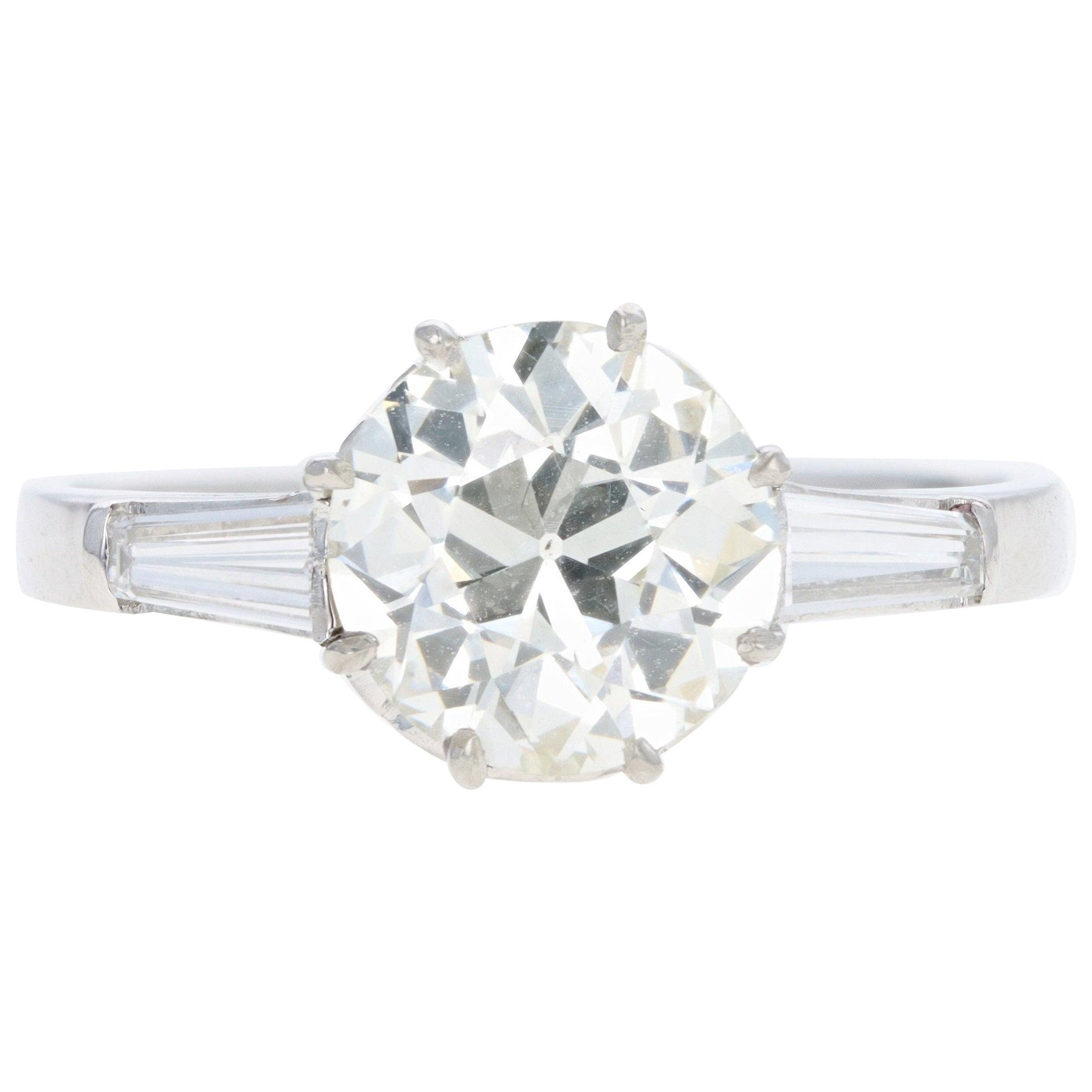 Platinum 1.52 Carat Old European Cut Diamond Engagement Ring