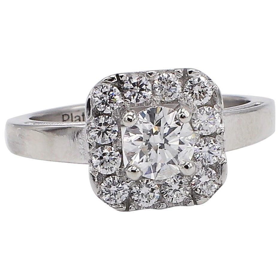 Platinum 1.10 Carat Round Diamond Halo Engagement Ring