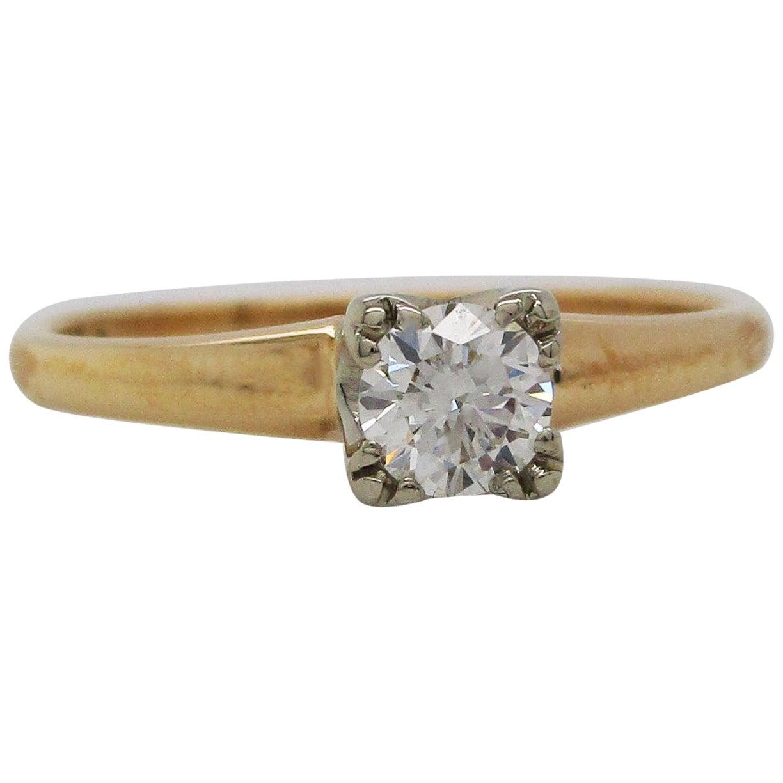 Vintage 14 Karat White and Yellow Gold Diamond Engagement Ring
