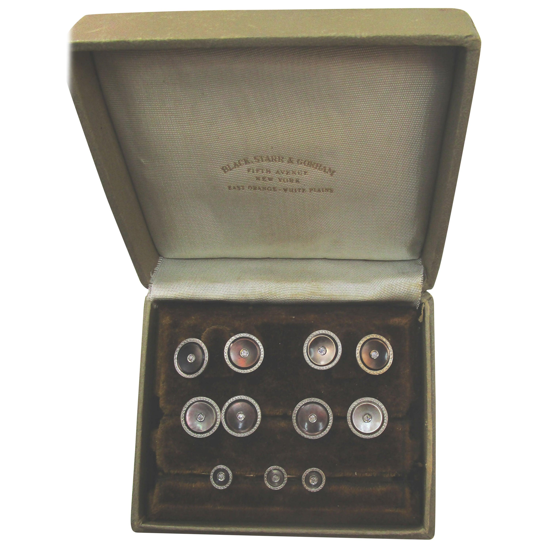 Black, Starr & Gorham Platinum Gold Mother of Pearl Diamond 9 Pc White Tie Set