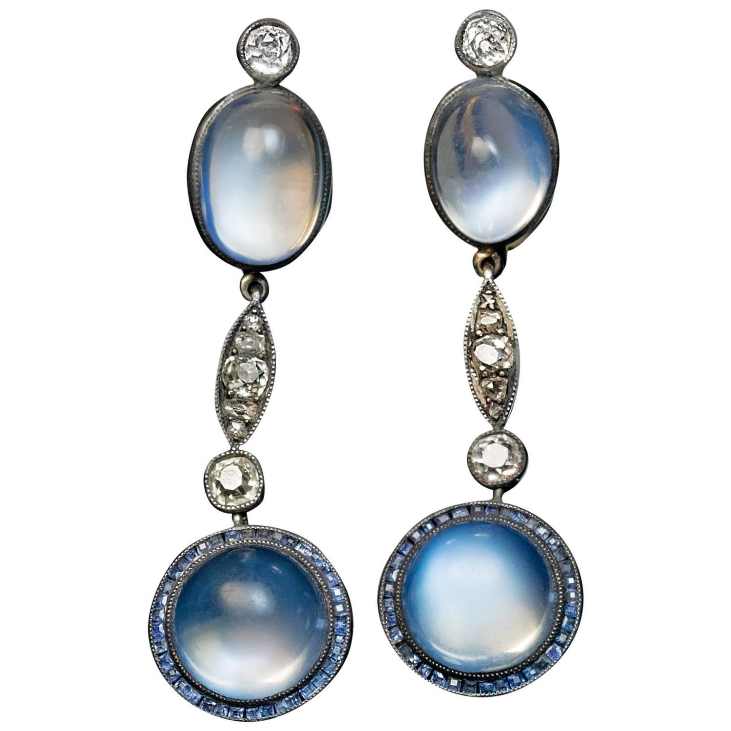 Antique Blue Moonstone Sapphire Diamond Pendant Earrings ...