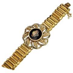 Antique Painted Enamel Miniature Gold Locket Bracelet