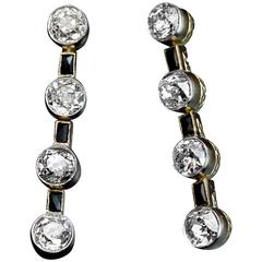 Art Deco Diamond Onyx Long Earrings