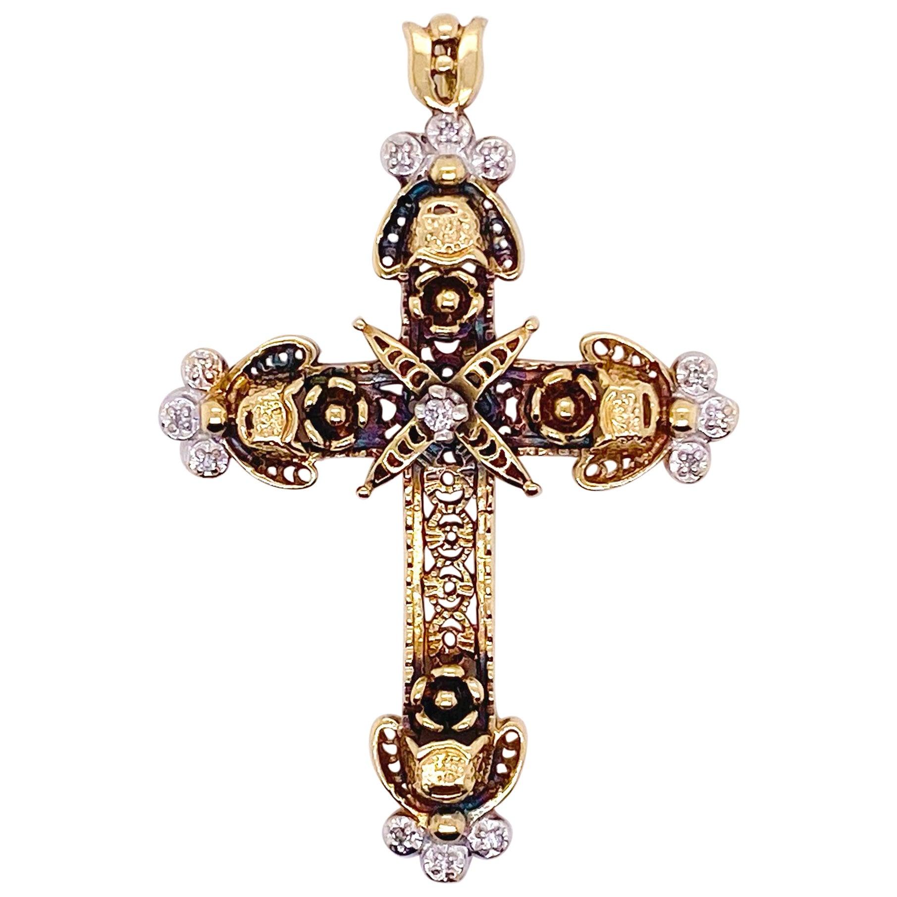 Diamond Cross Pendant, 14 Karat Yellow Gold, Charm