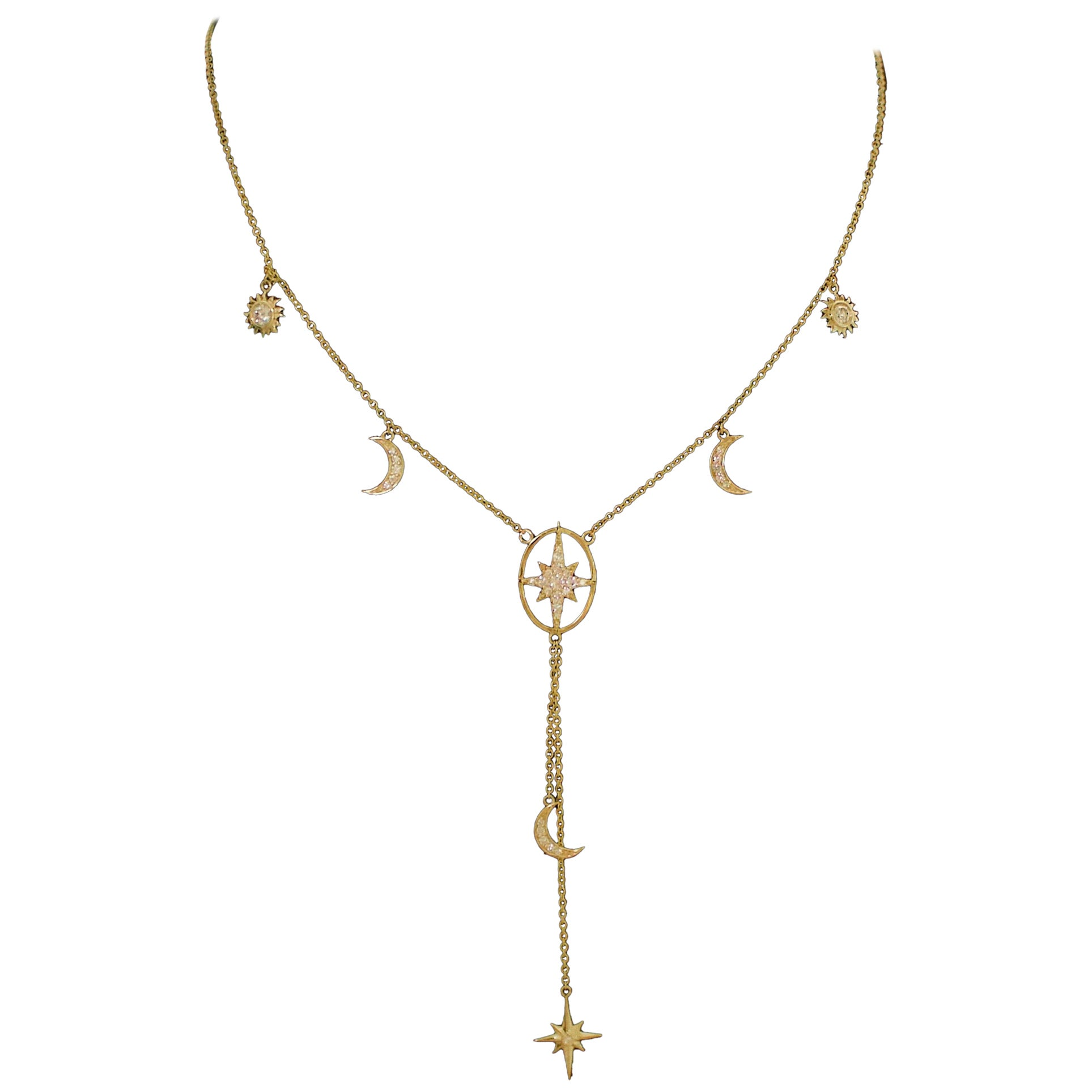 """Celestial Diamond Necklace """"The Moon, The Stars and The Sun"""" in Yellow Gold"""