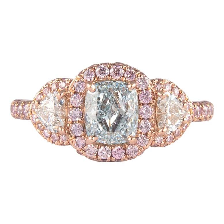 Alexander GIA 1.02 Carat Fancy Greenish Blue Diamond with Fancy Pink Diamonds