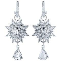 Jade Jagger Star Burst White Diamond Dangle Earrings