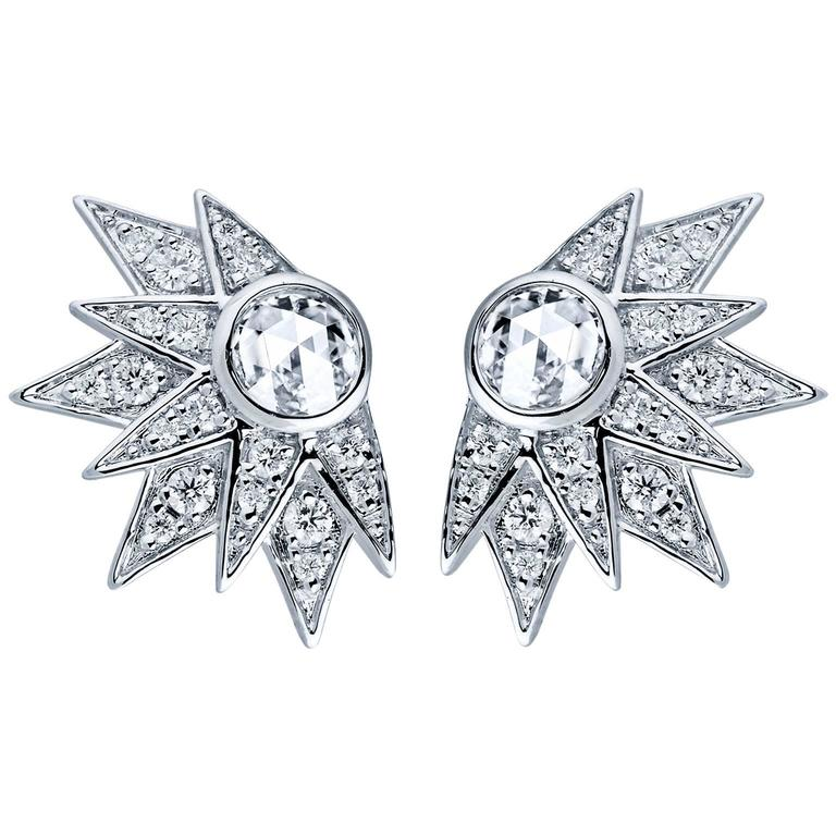 Jade Jagger Star Burst White Gold Diamond Earrings